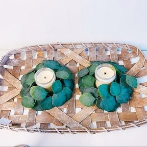Bundle of 2 Eucalyptus candle ring wreaths garland